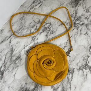 Handbags - Italian leather gold flower crossbody bag clutch
